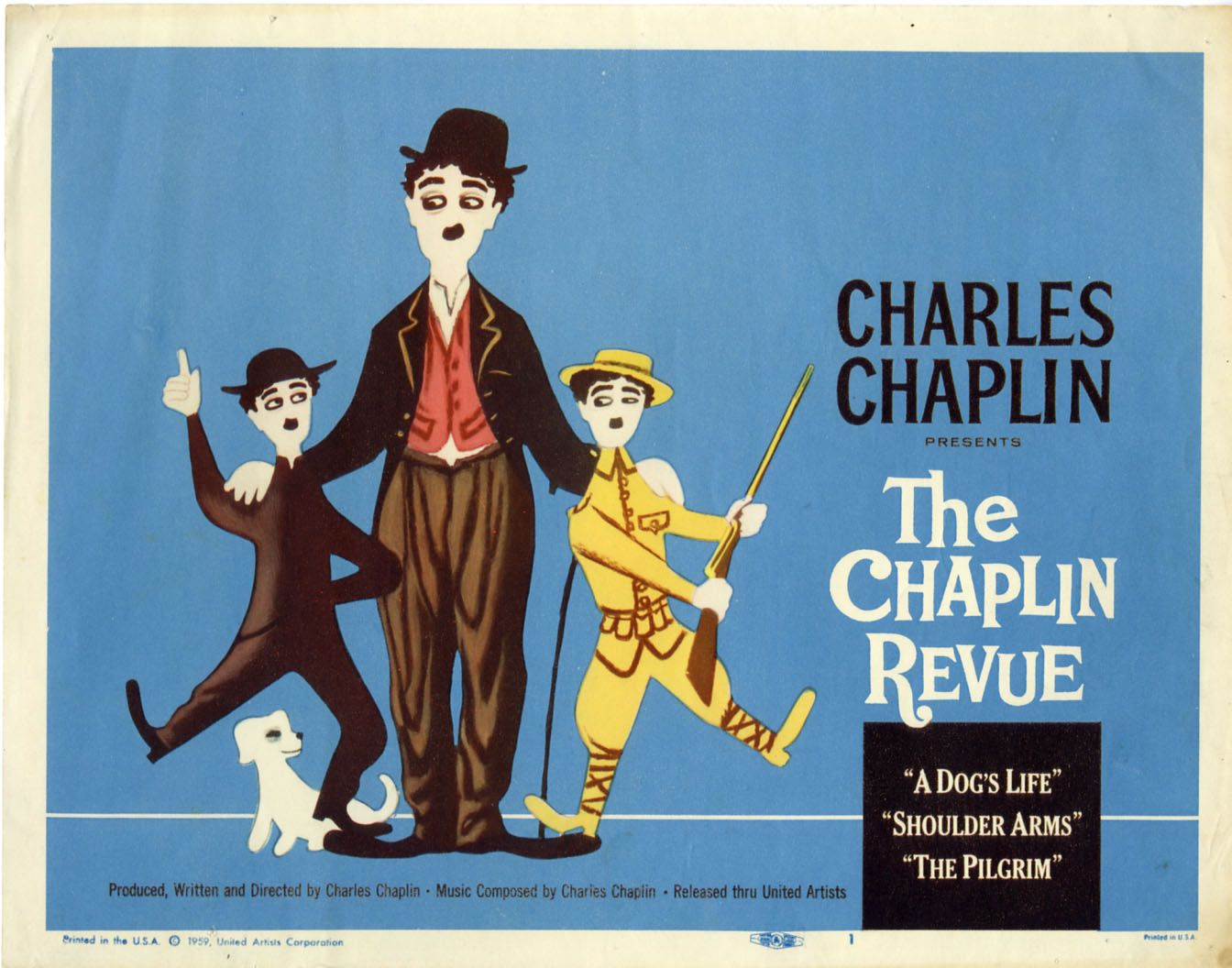 Lobby card for The Chaplin Revue! Watch A Dog's Life for free!
