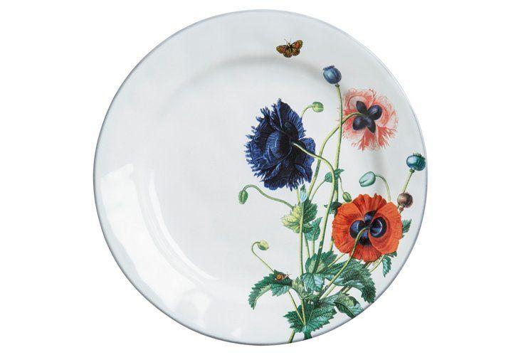 "11"" Poppies Dinner Plate, White Truffle"