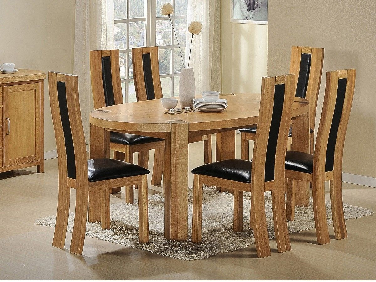 Chunky Solid Oak Dining Set Oak Oval Dining Table 6 Oak And Leather Chairs Oak Dining Sets Oval Table Dining Interior Design Dining Room