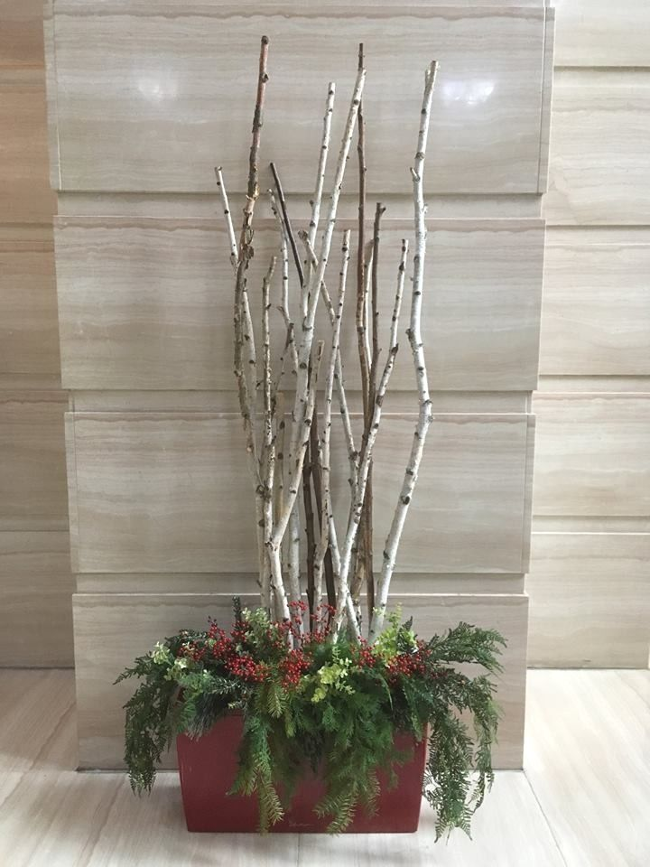 Holiday Arrangement In Red Cararro With White Birch Branches Holiday Arrangement Birch Branches Beautiful Centerpieces