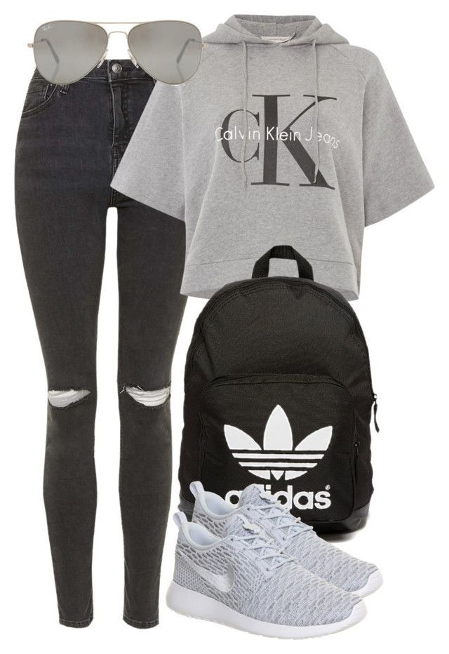 c1003066c53e Untitled #400 by vanileeeeeeen ❤ liked on Polyvore featuring Topshop,  Calvin Klein, adidas Originals, Rayban and NIKE