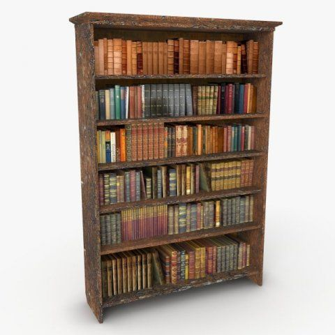 3D Model Antique Bookshelf c4d, obj, 3ds, fbx