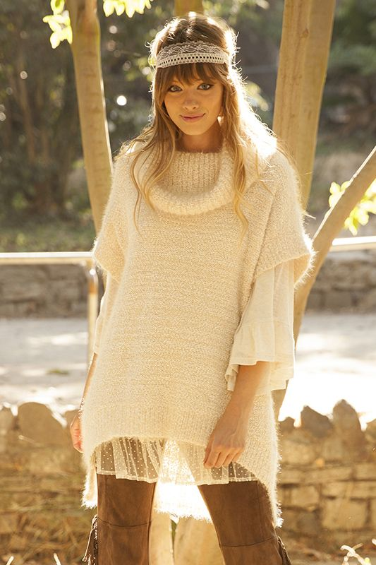 DAISY HIGH LOW COWL NECK  SWEATER