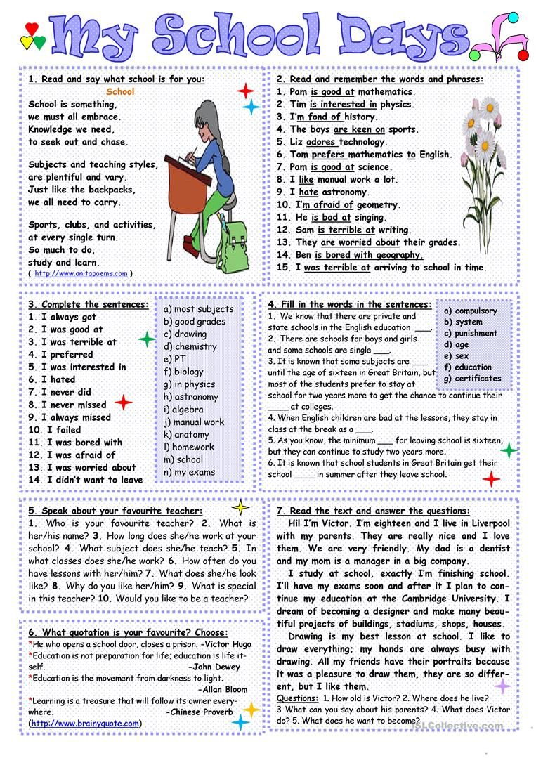My School Days Worksheet Free Esl Printable Worksheets Made By Teachers Reading Comprehension Worksheets I School Education Quotes For Teachers [ 1079 x 763 Pixel ]