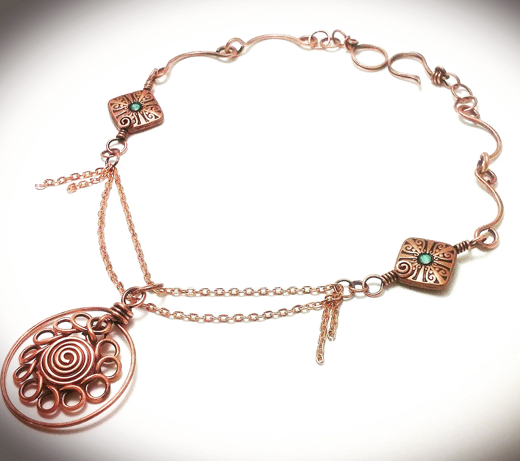 Copper wire wrapped necklace, starburst pendant, wire jewelry ...