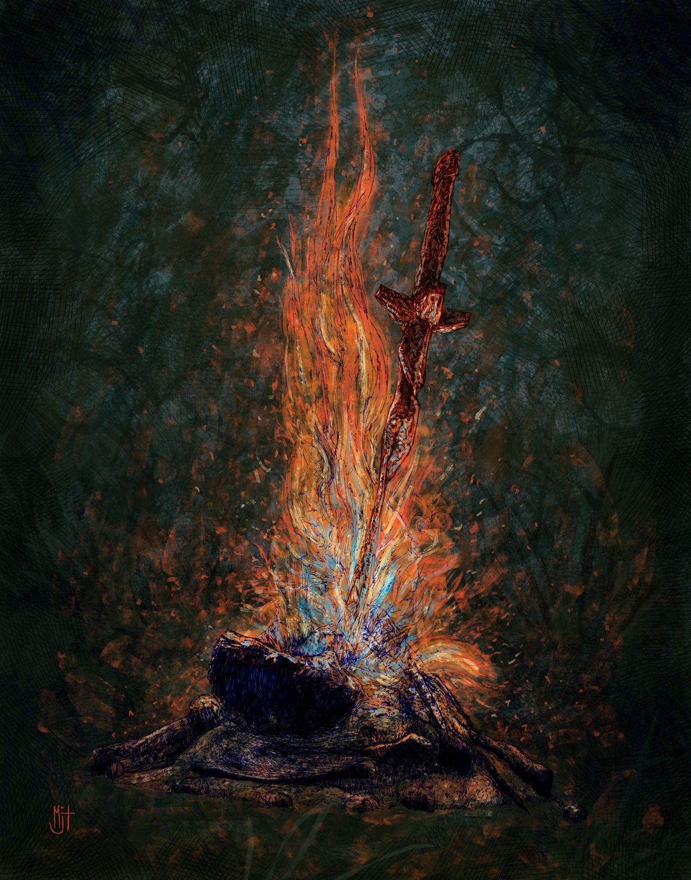 Dark Souls Bonfire Arte Escura