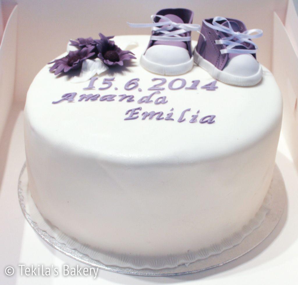 Christening cake to Amanda Emilia. Violet shoes and flowers