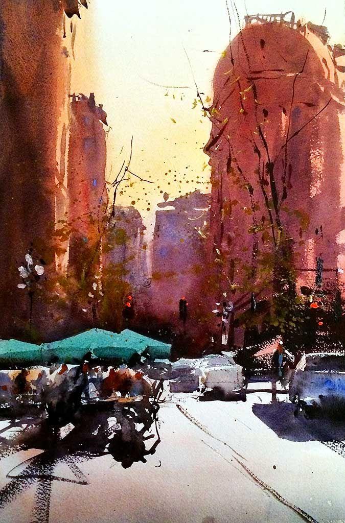 Vancouver Watercolour Alvaro Castagnet Paysage Urbain Aquarelle