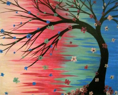 Cool tree painting with flowers. Paint Nite Losangeles | Coral Tree Cafe Brentwood 05/30/2015