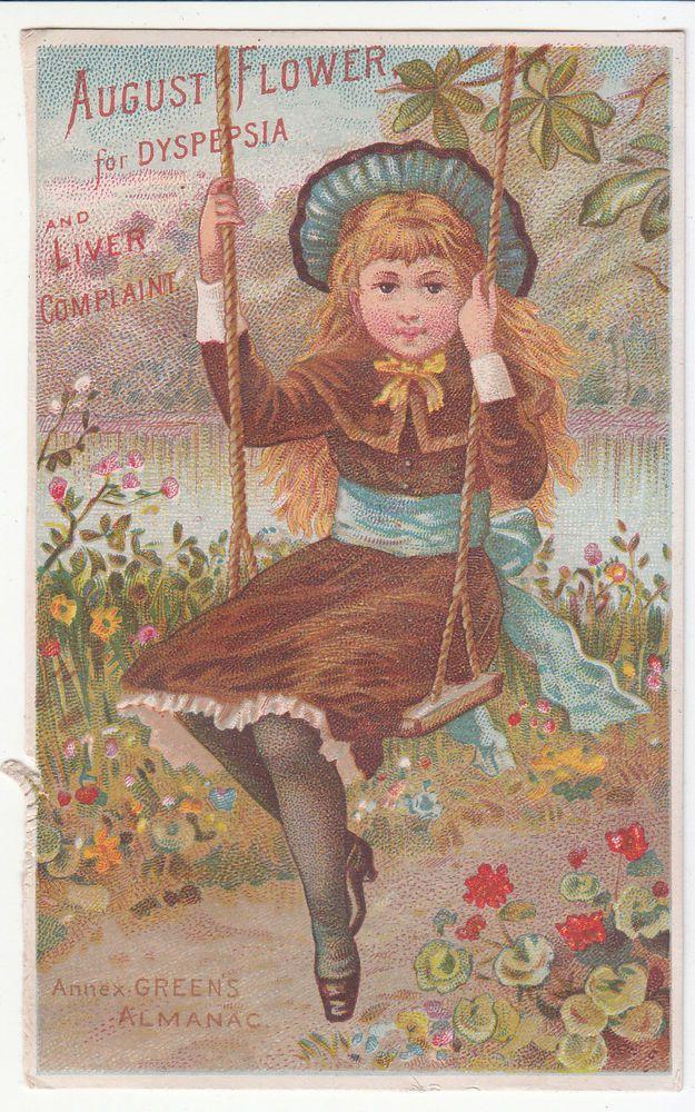 August Flower Annex Green's Almanac Girl Swing Rockwell Lyon Danielsonville RI #AugustFlower