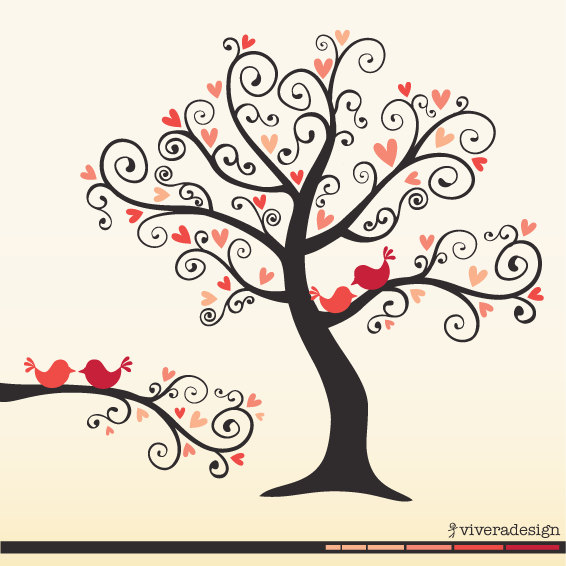 Love Birds On A Love Tree In Coral Pink Digital Clip Art Curl