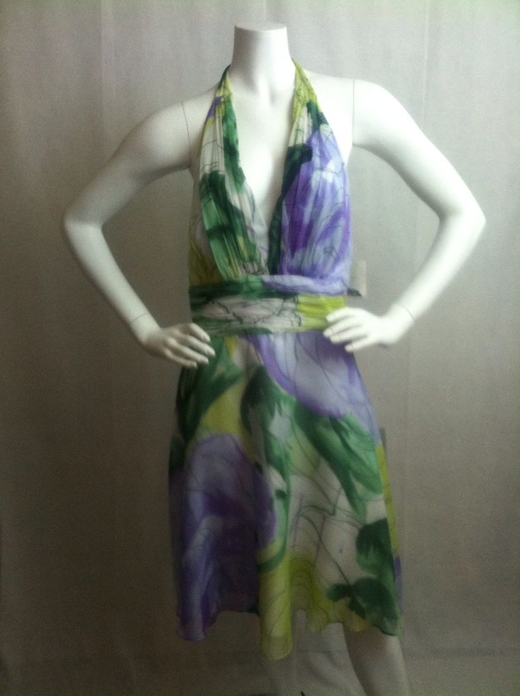 Womens Donna Morgan Petites Silk Chiffon Orchid Floral Halter Dress Size 10P #DonnaMorgan #Halter #SummerBeach