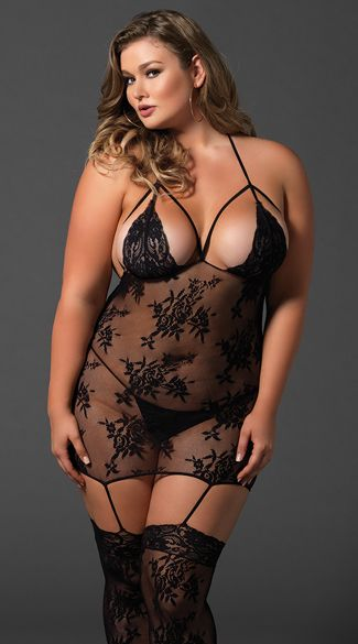 335b0762492 Plus Size Lace Cage Strap Suspender Bodystocking