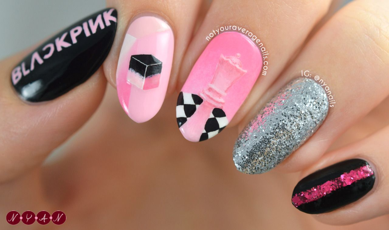 Blackpink Ddududdudu Inspired Nail Art Korean Nail Art Nail