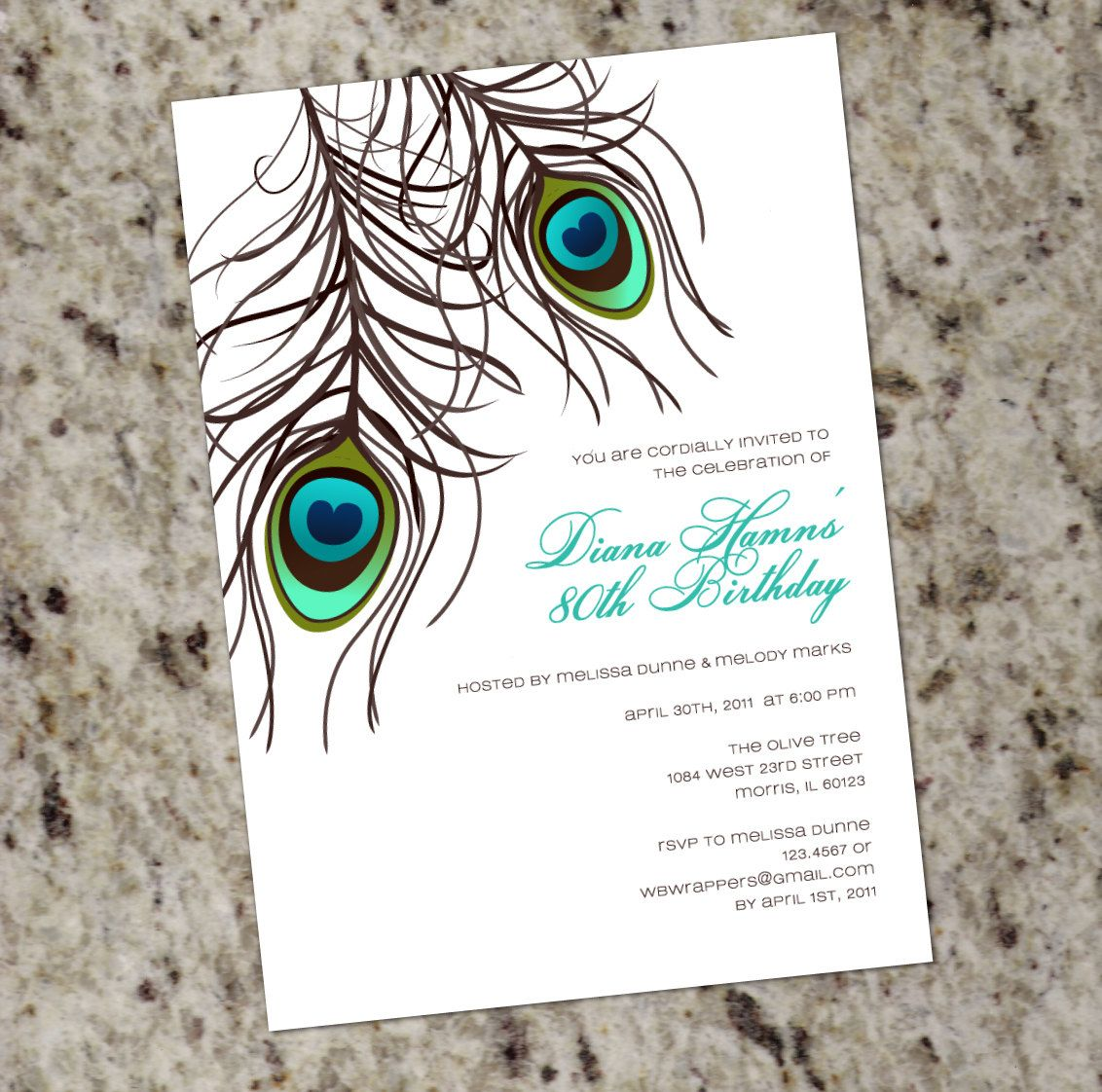 PEACOCK Invitation - PRINTABLE DESIGN - Wedding, Birthday or Any ...