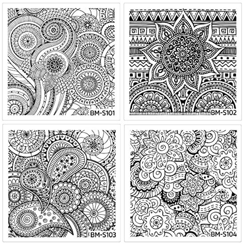 Bundle Monster 10 Pc Abstract Mandala Flowers Nail Art Stamping