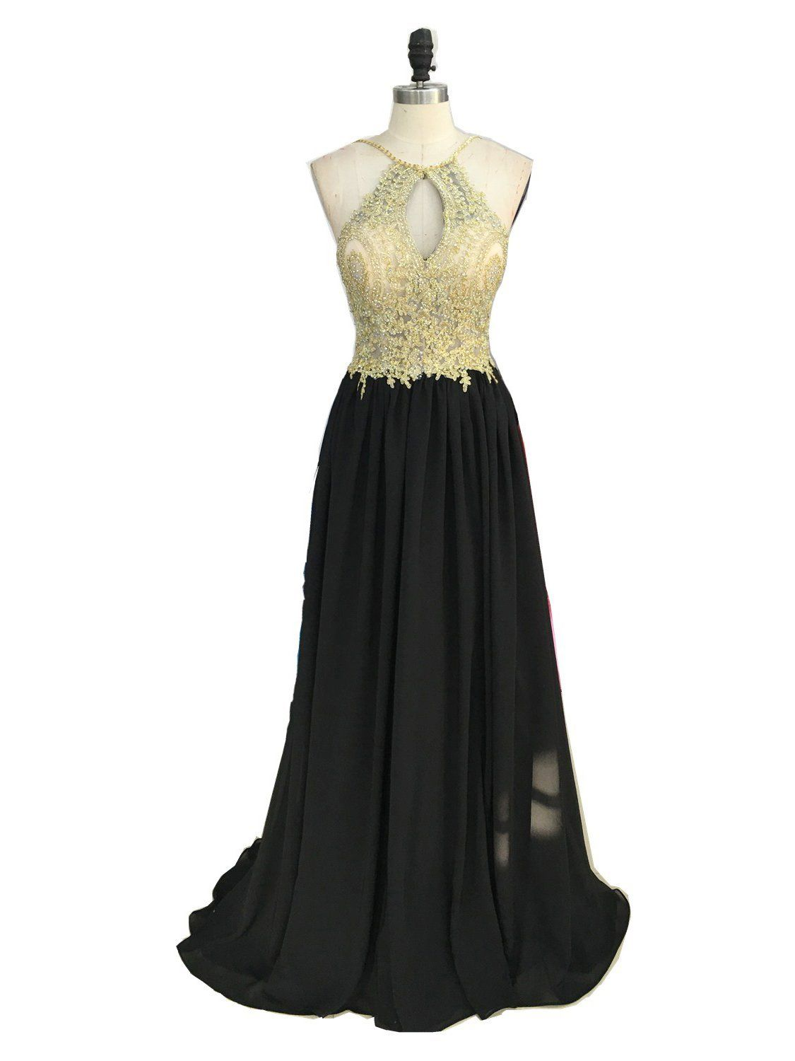 Aline gold lace top black chiffon halter long prom dresses formal