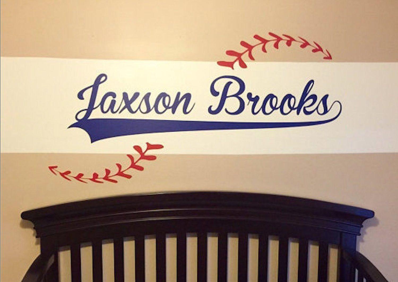 Custom Name Added To Baseball Vinyl Wall Decal Baseball Theme - Custom vinyl wall decals removable