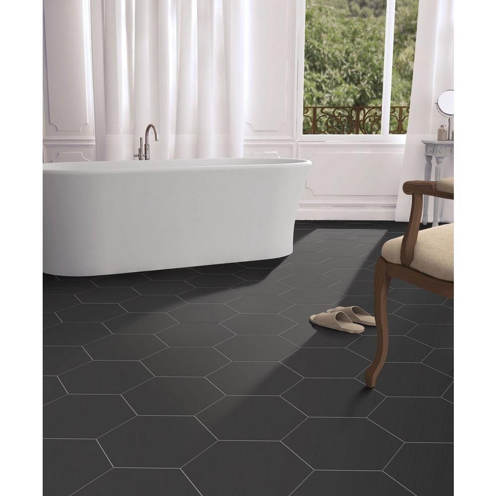 Opal Black Hexagon Porcelain Tile Black Bathroom Floor Bathrooms Remodel Small Bathroom