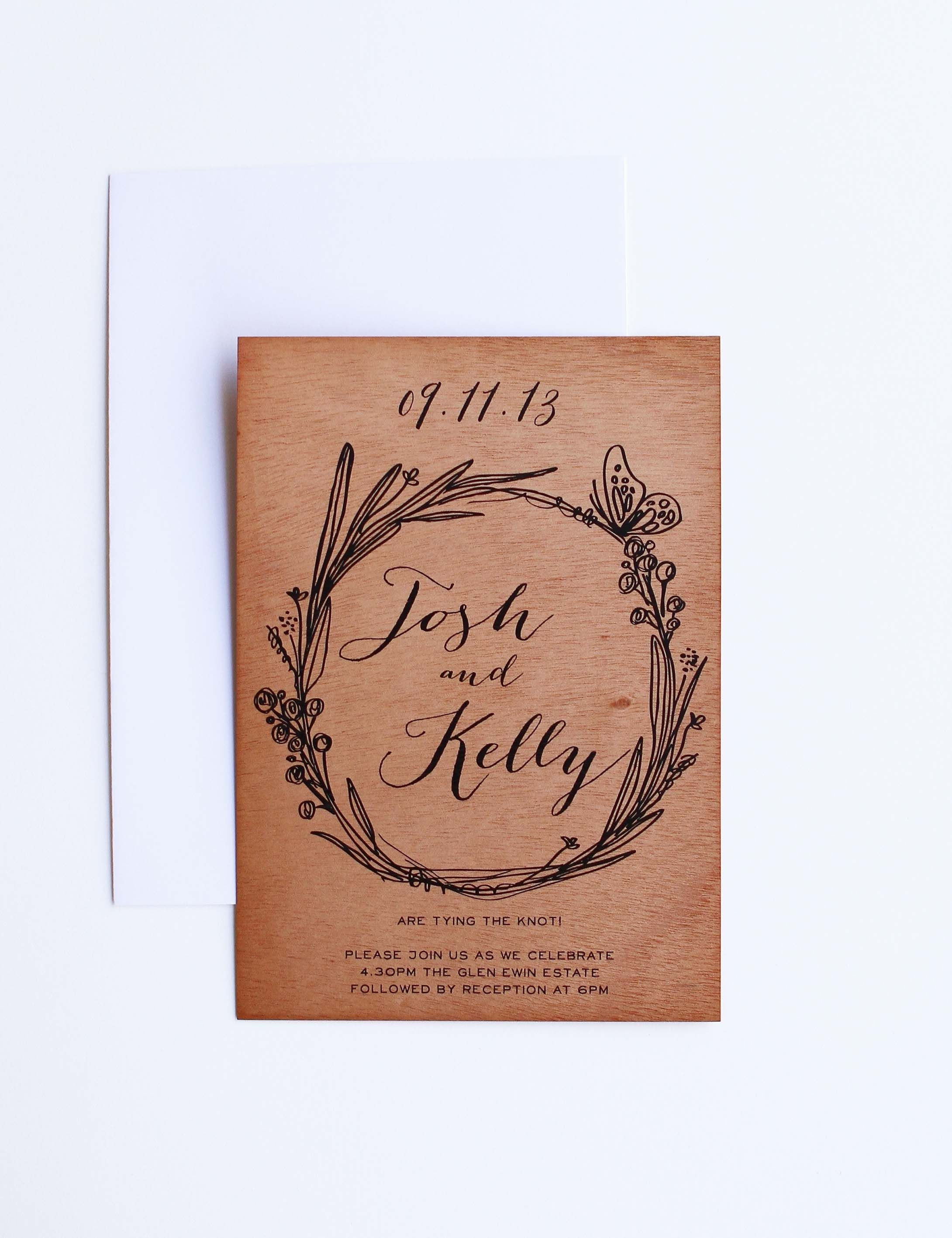 Rustic Wooden Wedding Invitations native australian butterfly floral ...