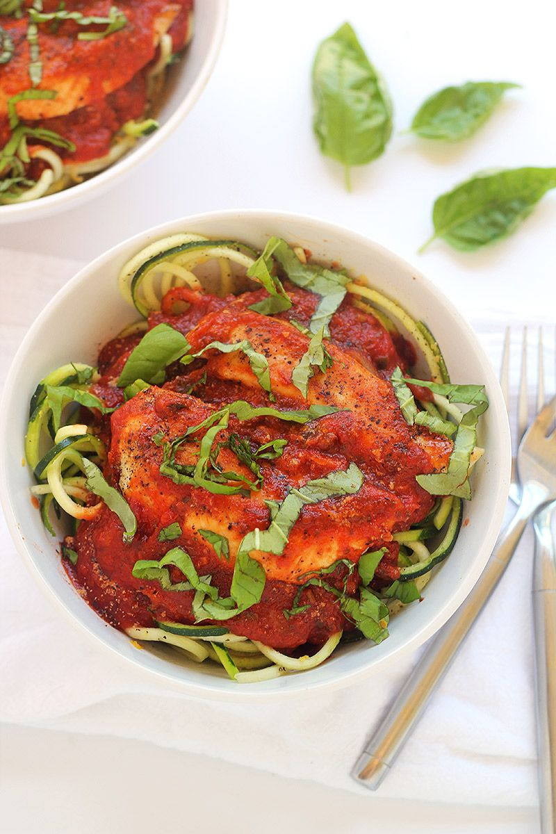 A delicious, healthy, and easy 15-minute zucchini spaghetti with chicken and marinara recipe. The perfect gluten-free weeknight meal!
