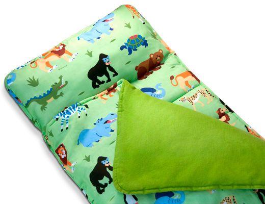 jungle safari animals kids green nap mat boy or girl sleeping bag