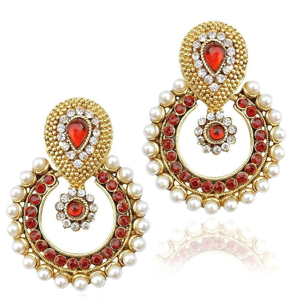 Gold Plated Red Stone White Pearl CZ Beautiful Girls Bollywood ...