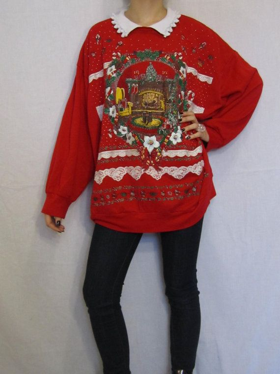 90s Christmas Sweaters.Ugly Christmas Sweater Vintage 80s Oversize Cat Sweatshirt
