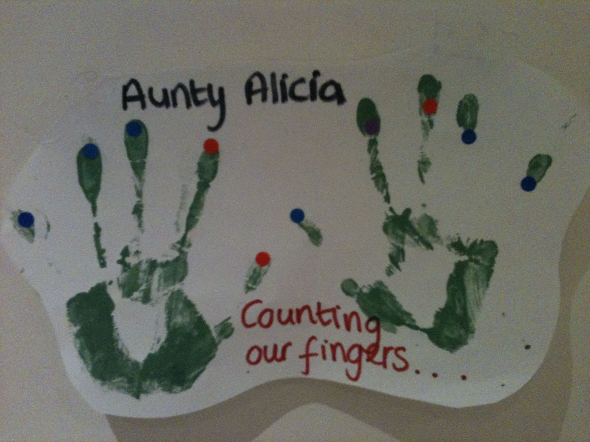 Counting our fingers- example of an activity. Take handprints and then place the stickers on each finger, whilst counting. Could follow up with toe prints and sticking the stickers directing onto the fingers and toes, whilst counting. Great for a numeracy display.