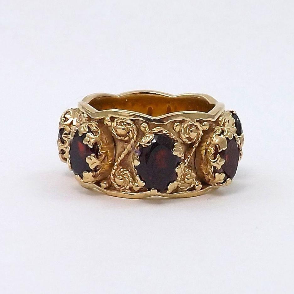 vintage etruscan style 14k gold 7ctw garnet ornate wedding. Black Bedroom Furniture Sets. Home Design Ideas