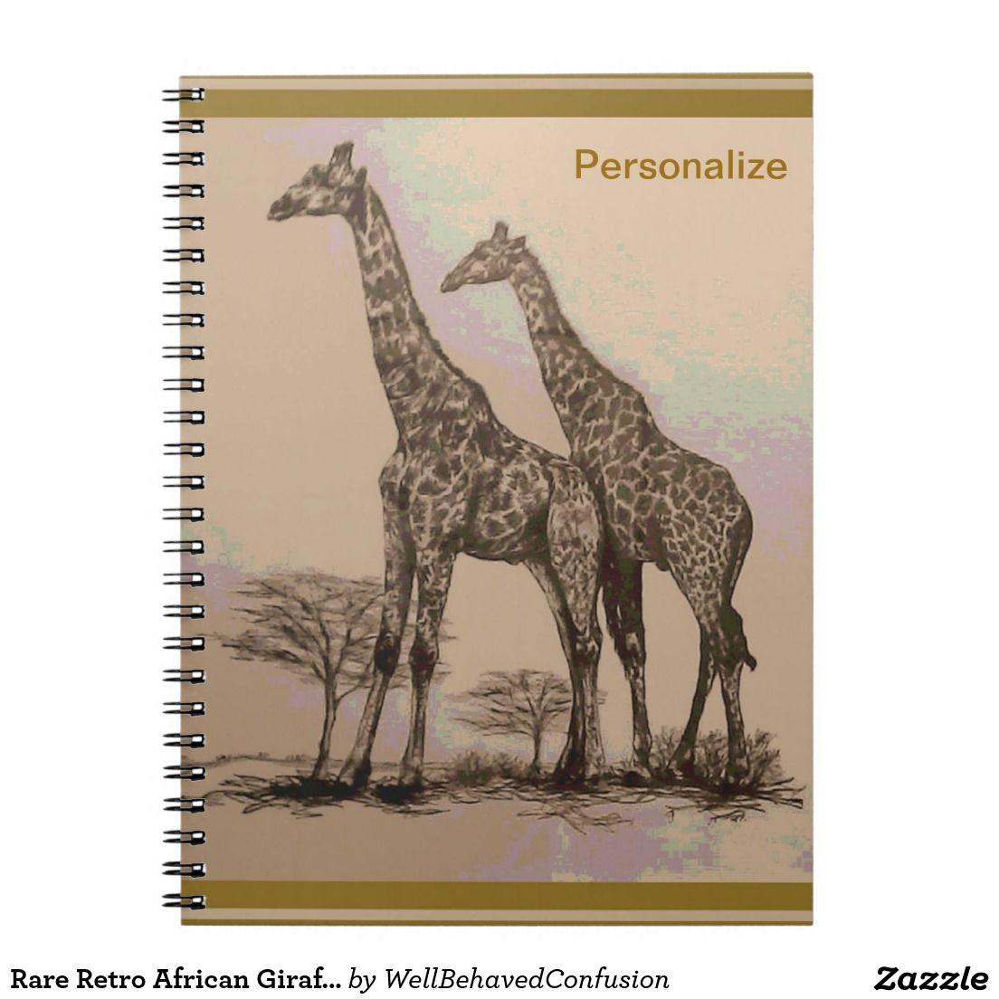 Rare Retro African Giraffes in Sepia & Pastels Notebook ...