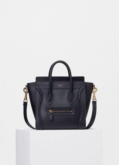 Nano Luggage Shoulder Bag in Black Smooth Calfskin - Céline