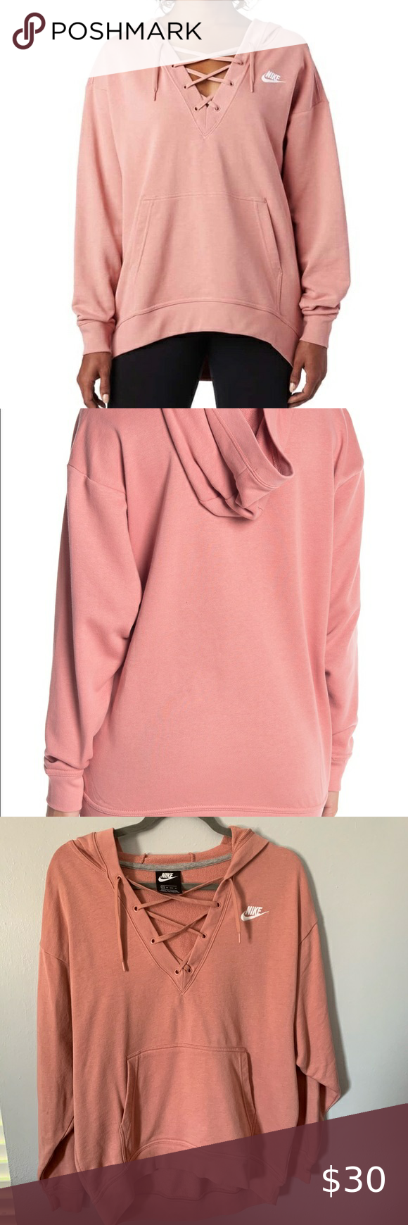 Blush Pink Nike Lace Up Hoodie Clothes Design Hoodie Brands Pink Nikes [ 1740 x 580 Pixel ]