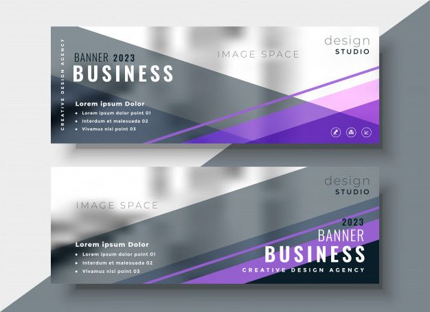 Geometric abstract business banners desi  Premium Vector