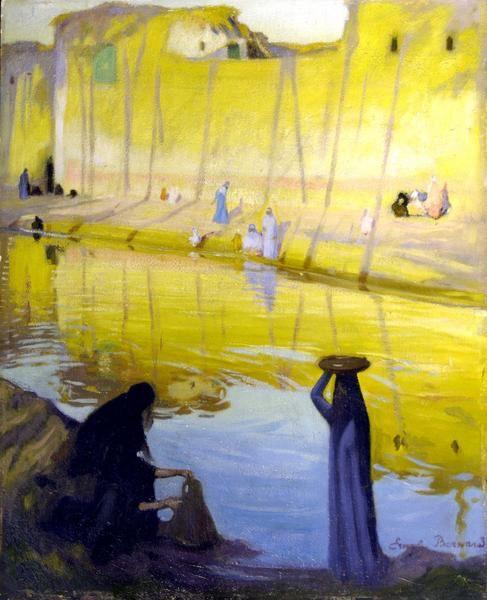 BERNARD Emile (peintre) Bords du Nil à Marg, effet du soir (titre d'usage)