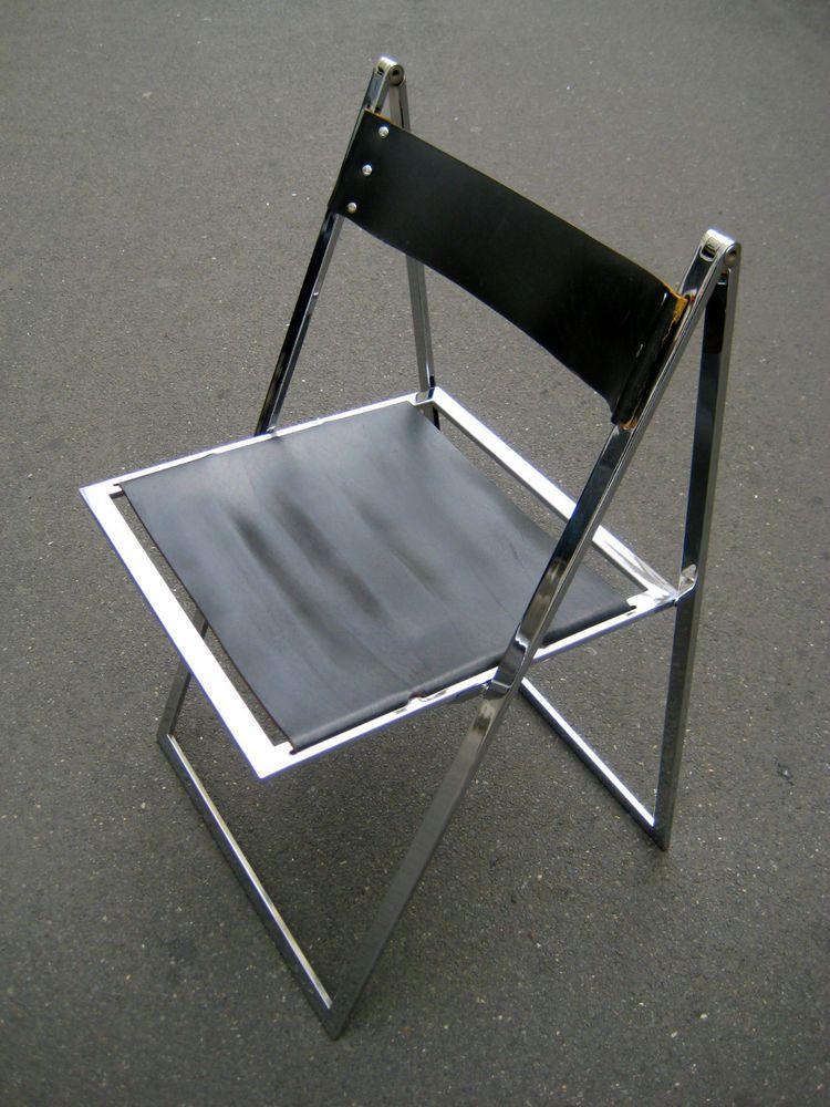 Stuhl Klappstuhl Leder Chrom Design Klassiker Bauhaus Lubke
