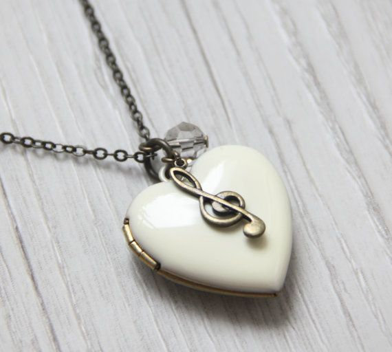 Items similar to Discounted A heart to Music Antique White Heart Locket Necklace. Bronze Music Note Charm Locket Necklace. Gift for Her. Stain Inside on Etsy