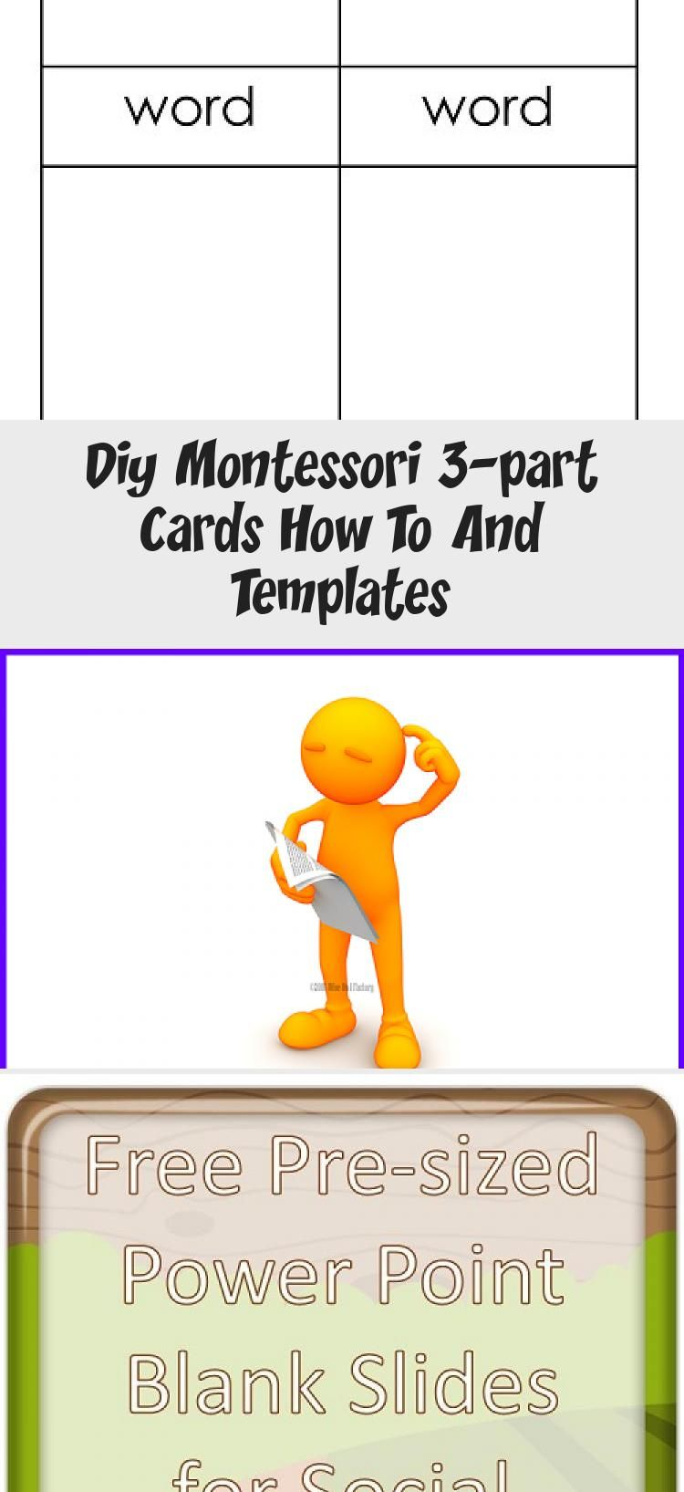 Diy Montessori 3 Part Cards How To And Templates Informational Blog Post And Video With Information About How To Make 3 Part C In 2020 Template Free Templates Cards
