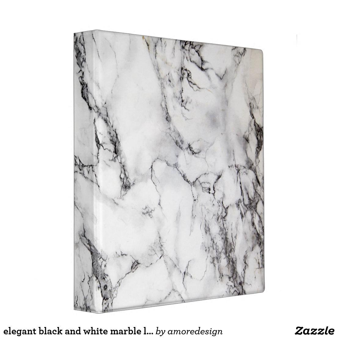Elegant Black And White Marble Look Binder