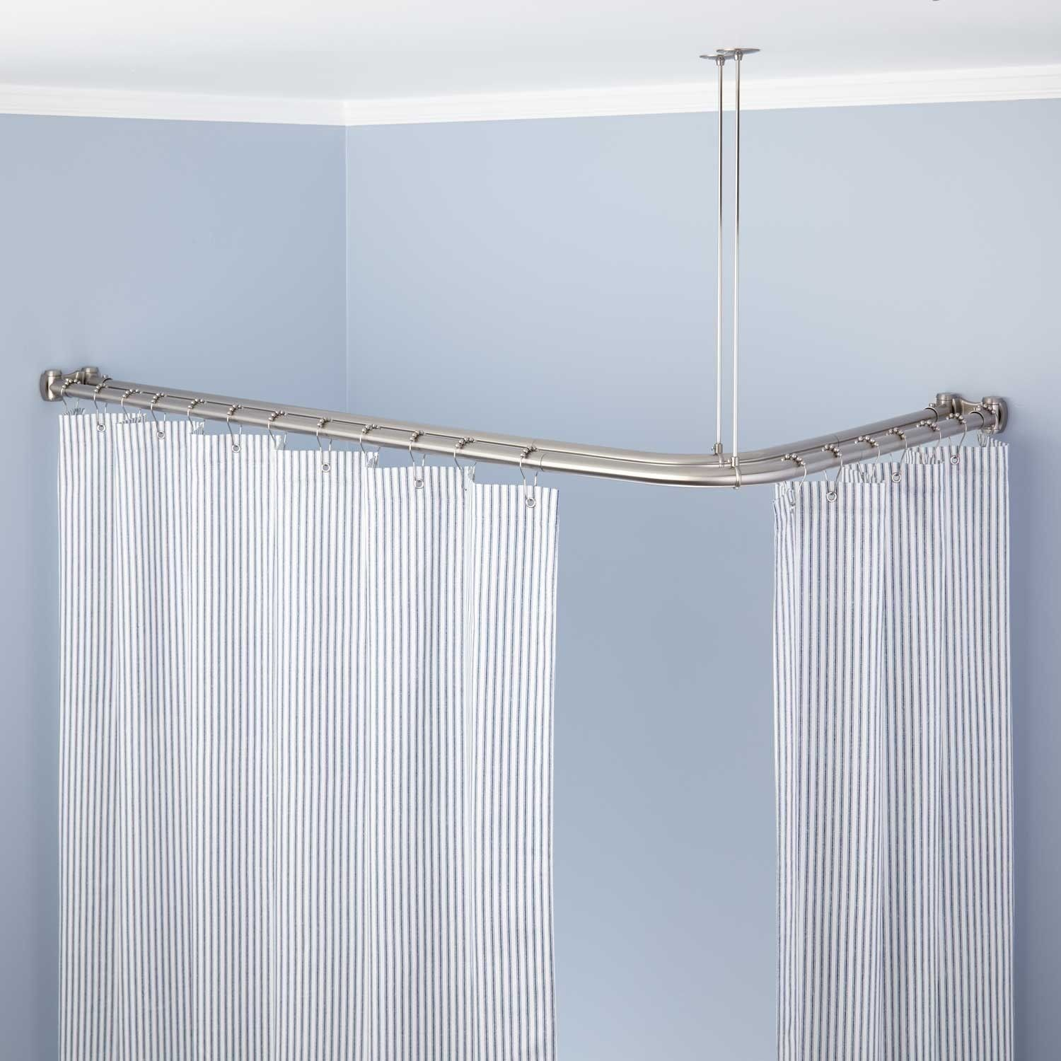 Corner Shower Rod With Heavy Round Brackets And Swivel Ceiling