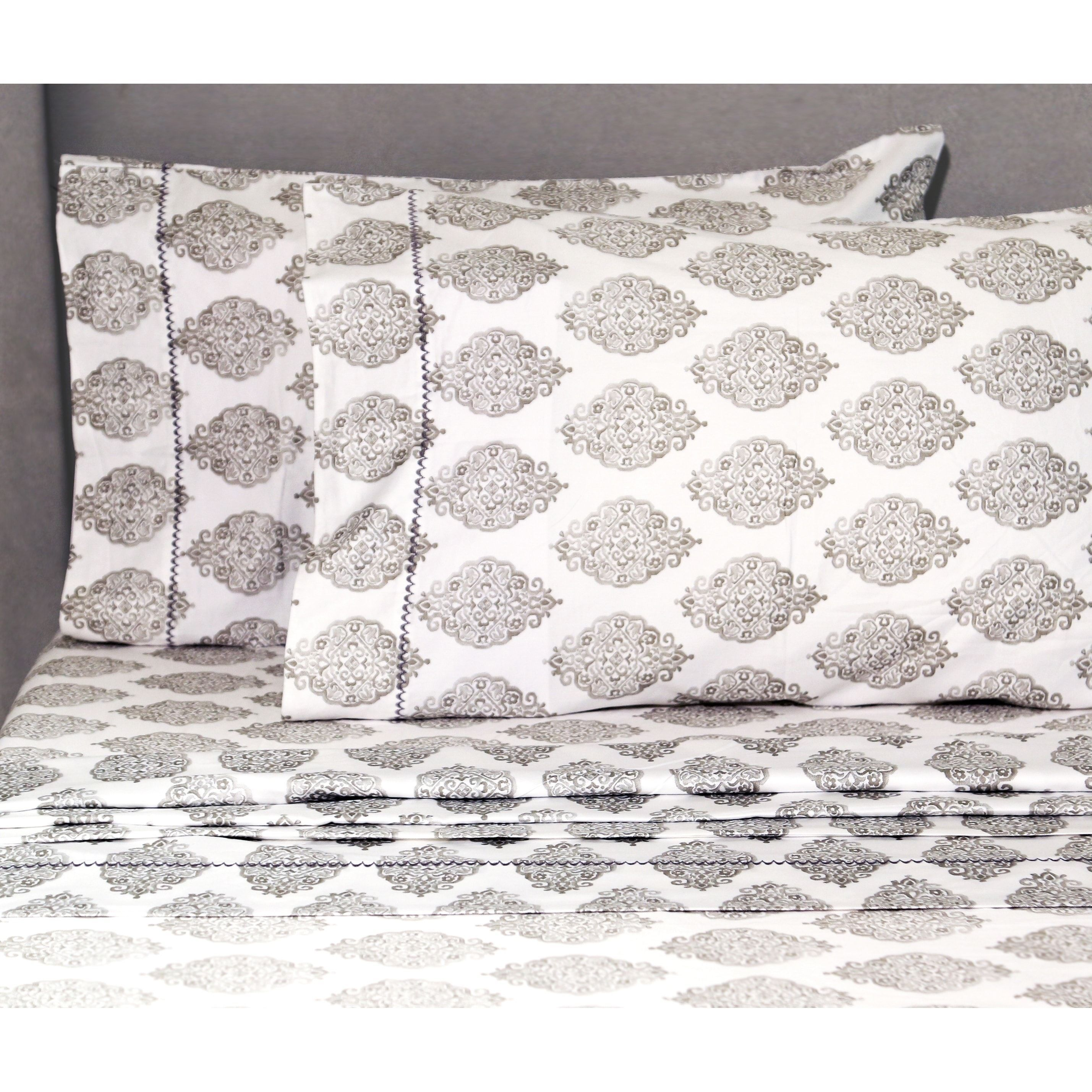 Melange Home 400 Thread Count Bali Embroidery Cotton Sheet Set Full Grey