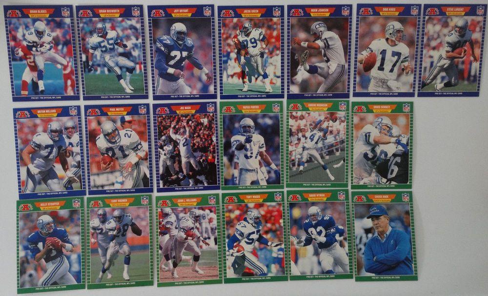1989 Pro Set Series 1 Seattle Seahawks Team Set of 19 Football Cards #SeattleSeahawks