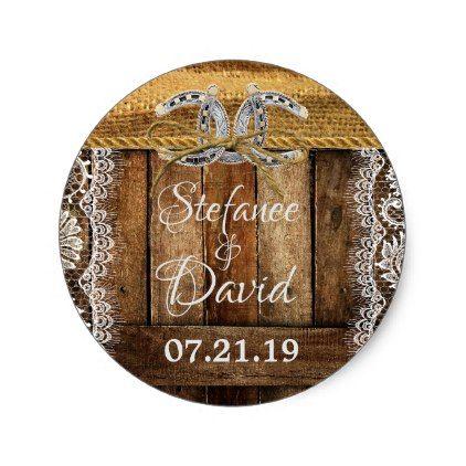 Rustic Country Western Wedding Sticker - barn wedding gifts template