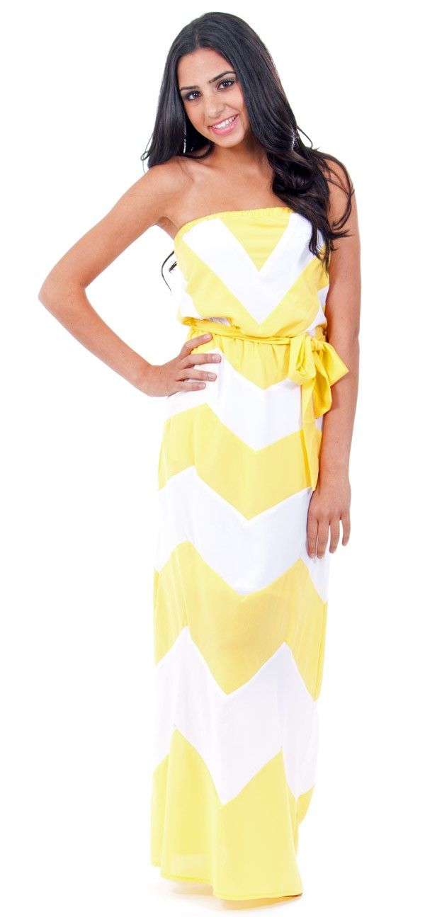 Yellow Chevron Strapless Maxi Dress