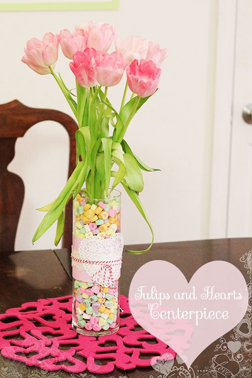 Valentine Tulips Use Those Nasty Chalky Conversation Hearts As
