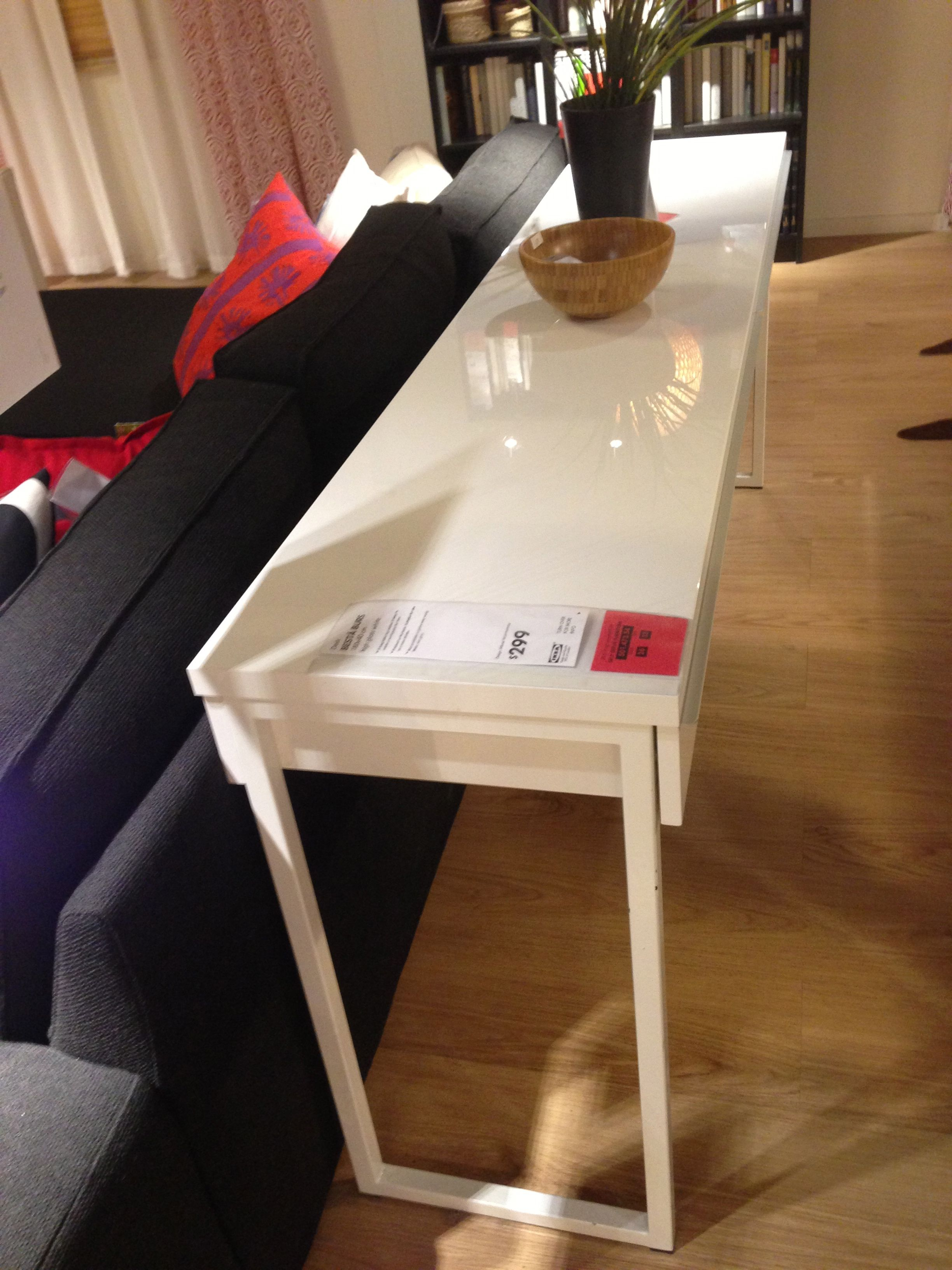 IKEA Showroom BESTA BURS 180 x 40 cm high gloos white desk a