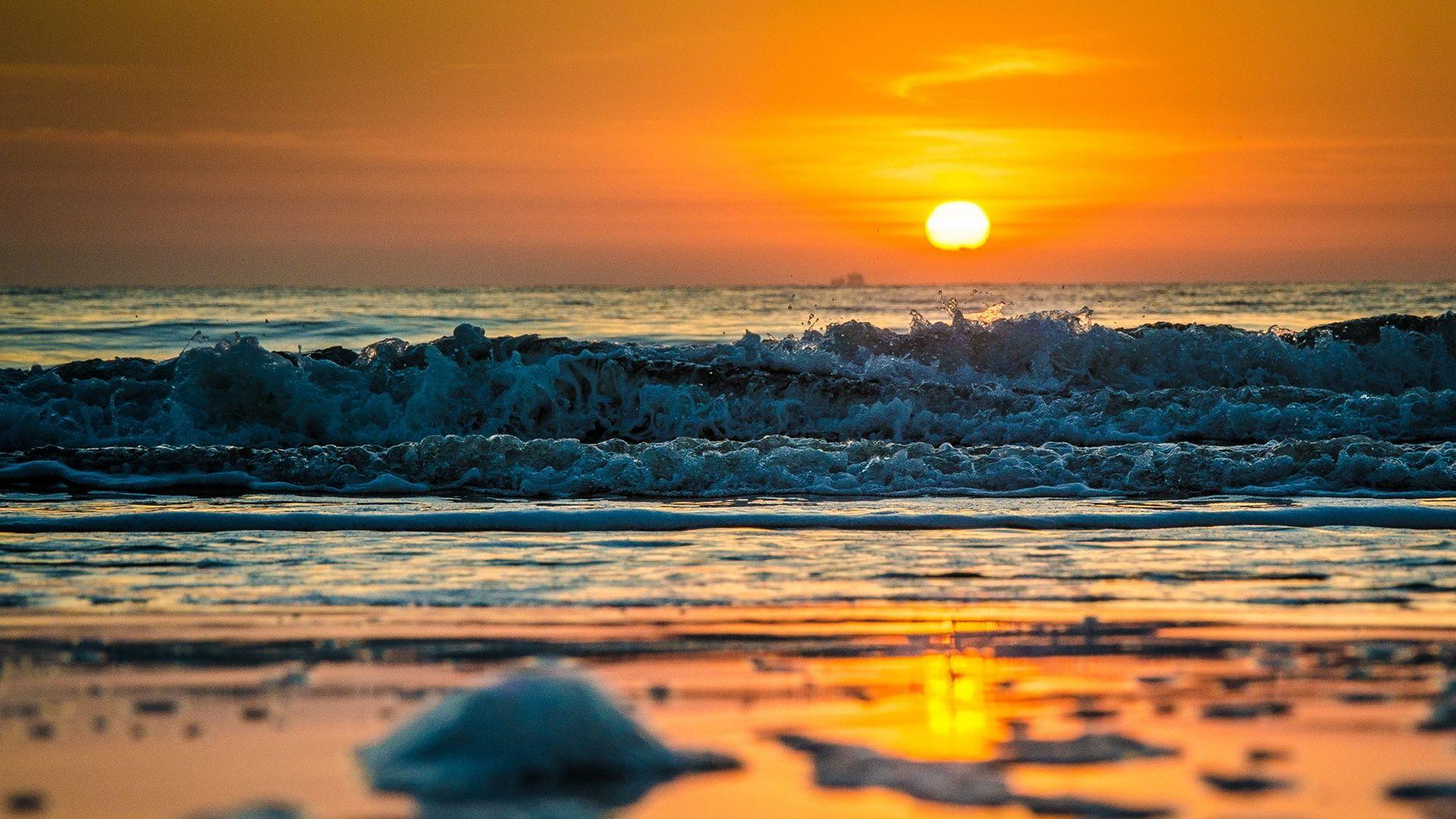 Beach Wave Beach sunset, Beach waves, Beach wallpaper