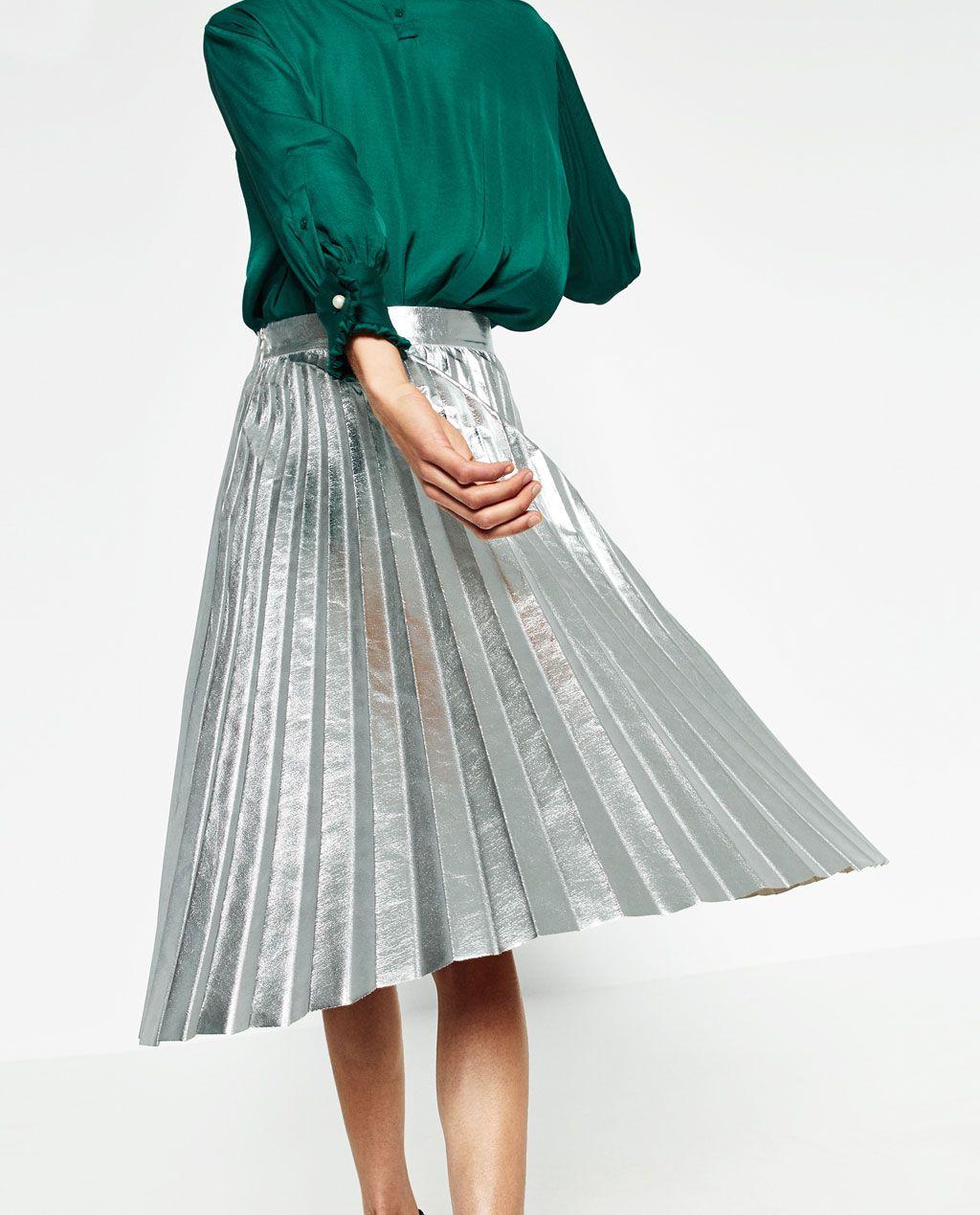 a5e4d0e8de770a Image 3 de JUPE PLISSÉE MÉTALLIQUE de Zara | Pleated skirts | Jupe ...