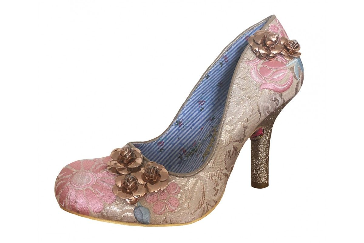 f89f9864e0e Irregular Choice Speak Easy Cream Gold Floral High Heel Court Shoes  Metallic Gold Color
