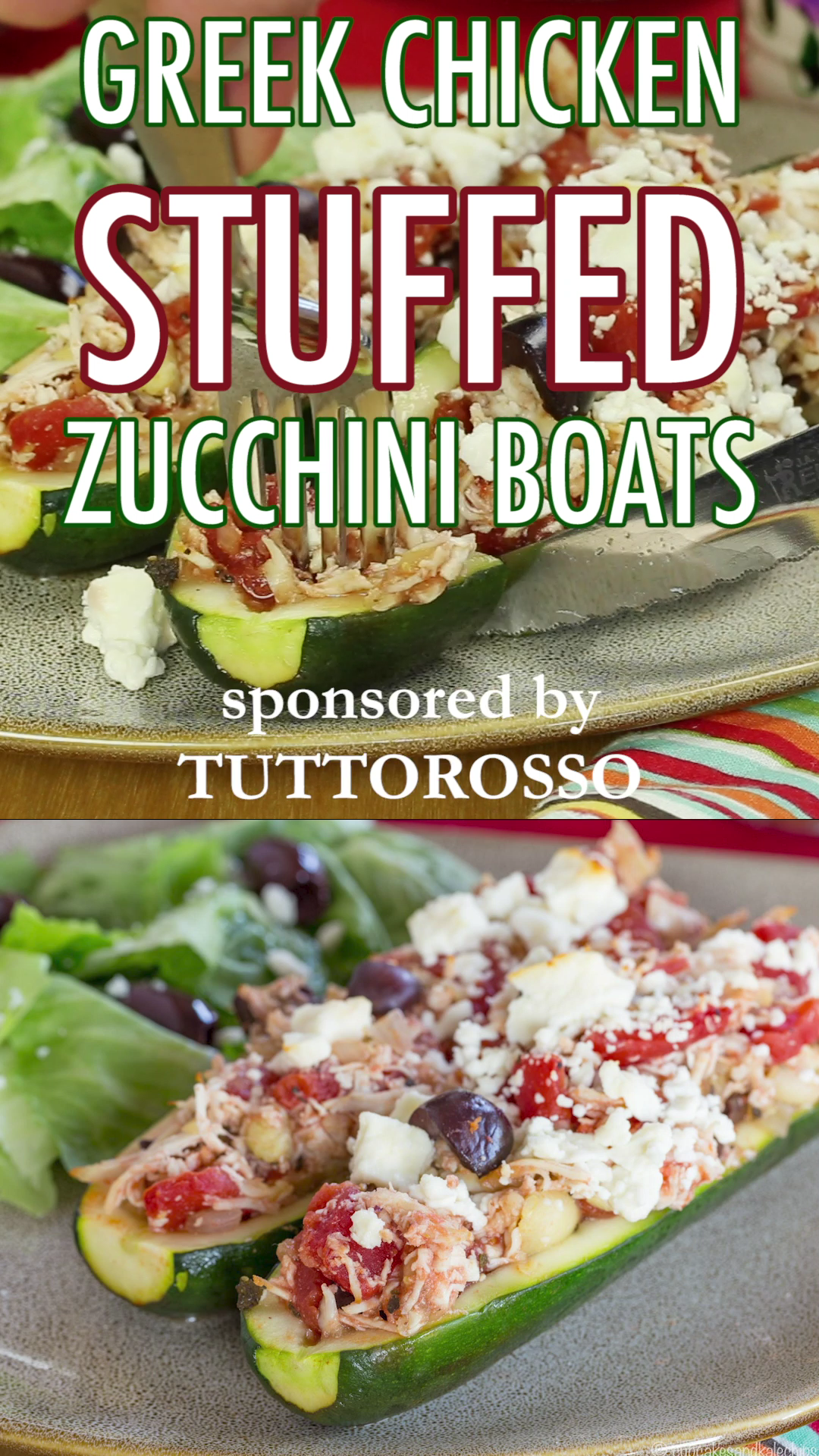 Photo of GREEK CHICKEN STUFFED ZUCCHINI BOATS